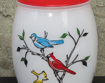 Bartlett Collins Feathered Friends Cookie Jar Birds White Glass Red Lid AS IS