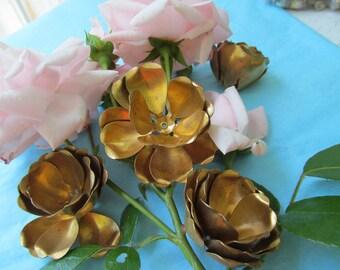 Vintage Rivited Brass Rose ...New Dawn