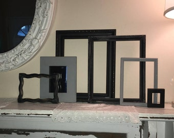 Eclectic Collection of 6 Vintage Wood Frames - Shabby Chic Wall Gallery  2 Open Frames - 3 Glass Backed  - 1 Mirror