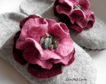 Wool felted slippers, Cherry roses, Light grey felted wool women house shoes, women slippers with leather soles - Made to order-
