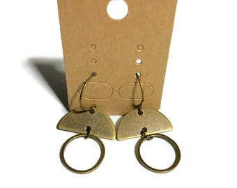 Brass Half Circle Circle Earrings