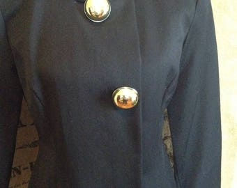 1980's jacket, Steven Stolman, black wool, jacket, blazer buttons