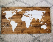World map with custom compass, wooden world map, travel the world, scripture quote sign, wedding gift, custom map, pallet wooden map, world