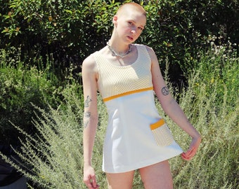 Vintage 70s Yellow and White Striped Mini Dress