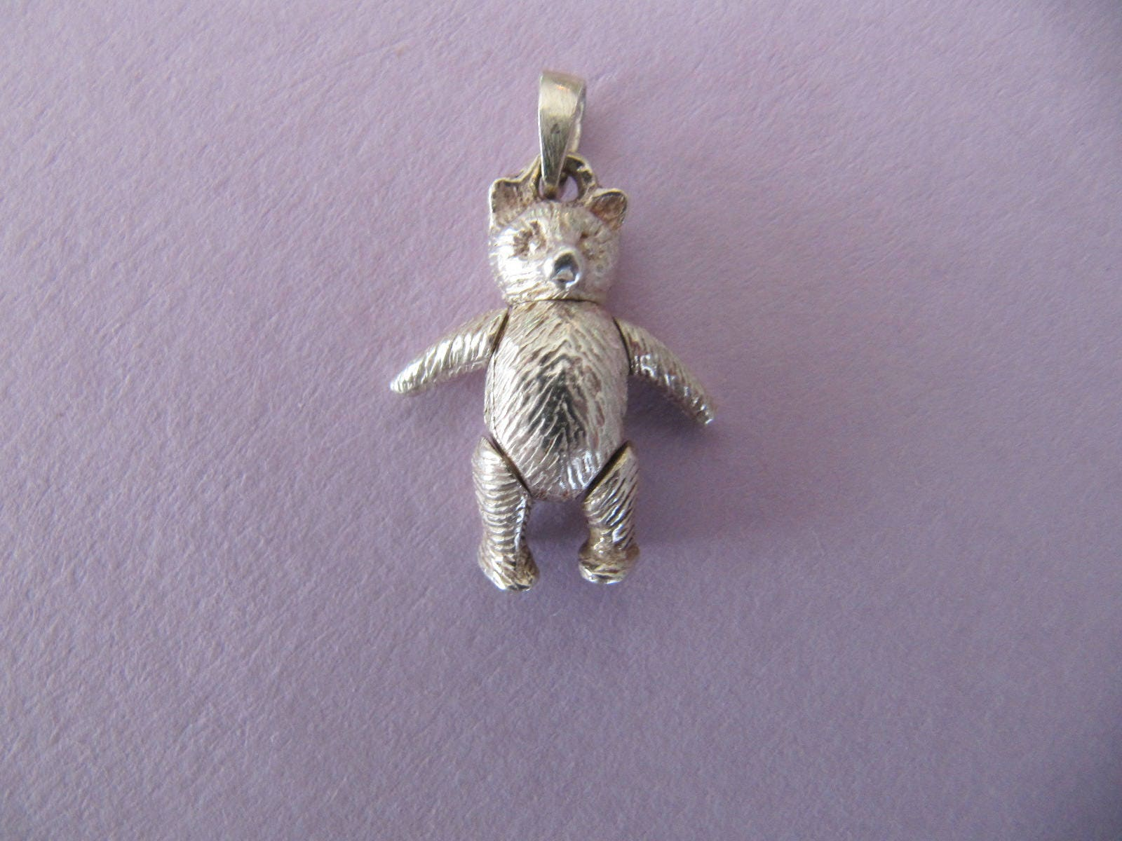 Vintage sterling silver teddy bear pendant jointed moveable teddy vintage sterling silver teddy bear pendant jointed moveable teddy necklace pendant silver bear charms aloadofball Images
