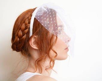 White polka dot blusher bridal headband