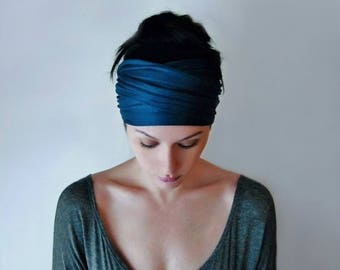 PEACOCK BLUE Head Scarf, Boho Headband, Dark Teal Blue Head Wrap, Non Slip Jersey Headband, Yoga Headband, Boho Hair Accessories
