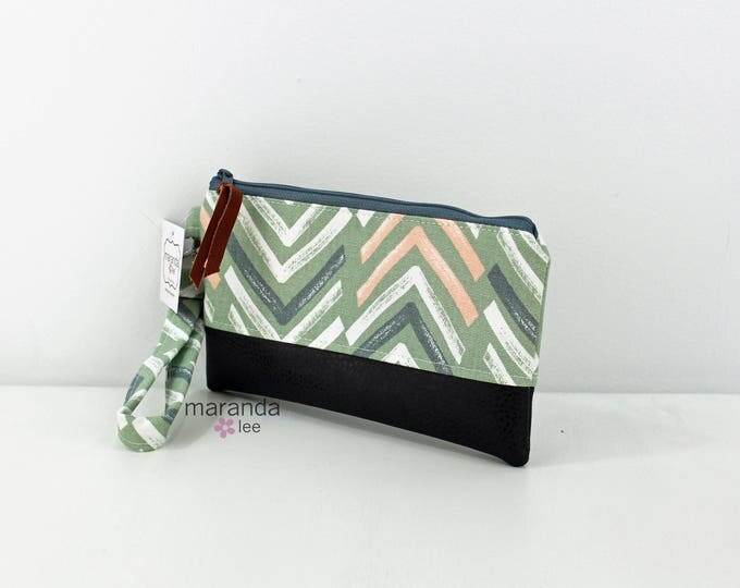 Flat Clutch - Dancer Sage with Gray PU Leather READY to SHIp