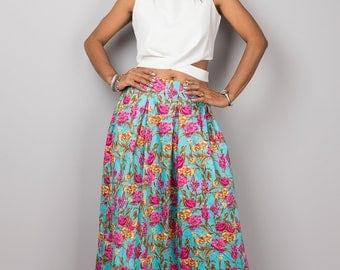 Maxi skirt, long skirt, floral skirt, boho skirt, women's skirt, summer skirt, floor length skirt, high waist skirt : Feel Good No.3