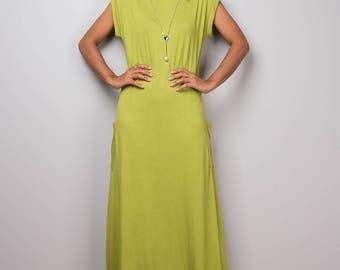 Green dress, green maxi dress, T shirt dress, turtleneck dress, tube dress, long olive green dress : Urban Chic Collection No.34