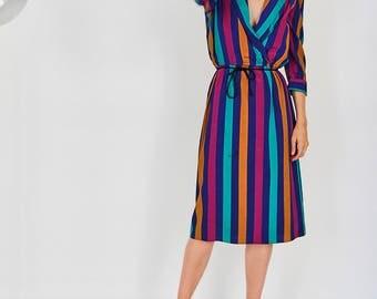 80s Bold Striped Dress