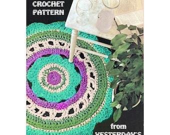 Instant Download PDF Crochet Pattern to make a Daisy Flower Circular Rag Rug Garden Mat Conservatory Hippy Flower Power