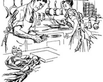 Retro Cartoon Comic Couple Man Woman Cooking Kitchen - Vintage Art Illustration - Digital Image