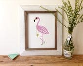 Pink Flamingo - 8x10 Art Print