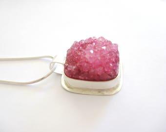 Pink Druzy Necklace, Pink Druzy Quarts Necklace, Druzy and Sterling Silver Necklace, Druzy Jewelry, Druzy