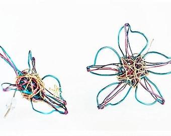 Flower earrings studs, turquoise gold earrings, wire earrings, boho jewelry, summer earring, bridesmaid earring, birthday gift for women