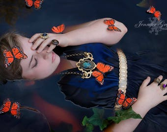 Bib Statement Necklace- Fairy Necklace- Fairy Jewelry- Fairy Costume- LARP Jewelry- Purple Jewel Necklace- Amethyst Necklace- Galaxy Jewelry