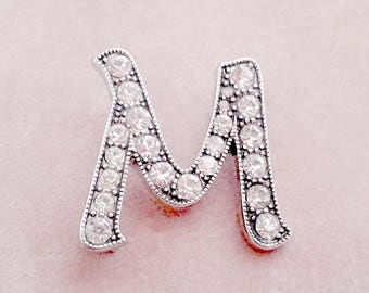 Initial Brooch Letter M Rhinestone Pin