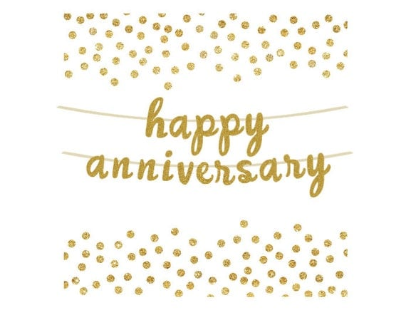 Happy Anniversary Gold Glitter Banner Photo Prop Anniversary