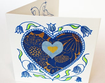 Limited edition Valentines greetings Card, hand silkscreen printed with hearts and love birds and blue and gold decorative paper