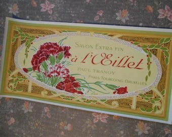 Pre-1920s Paul Tranoy Edwardian French Soap Lithograph Label NOS Carnation Flowers