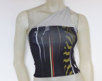 One Shoulder Top over cross Back  Tango Top Size US 4/6 Eu 34/36  Tango Chamise Evening Top Stunning Designer Print