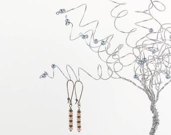 Earrings Rose Gold Swarovski Pearl Antique Brass Drop Earrings Modern Vintage