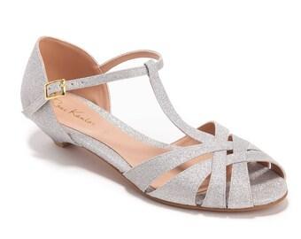 Silver Bridal Sandals / Wedding Sandals / Low Heel Sandals / Sparkly Silver  Sandals / Kitten
