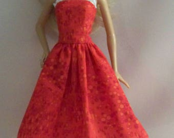 Handmade Barbie Doll Clothes-Red and Orange Cotton Print Barbie Dress