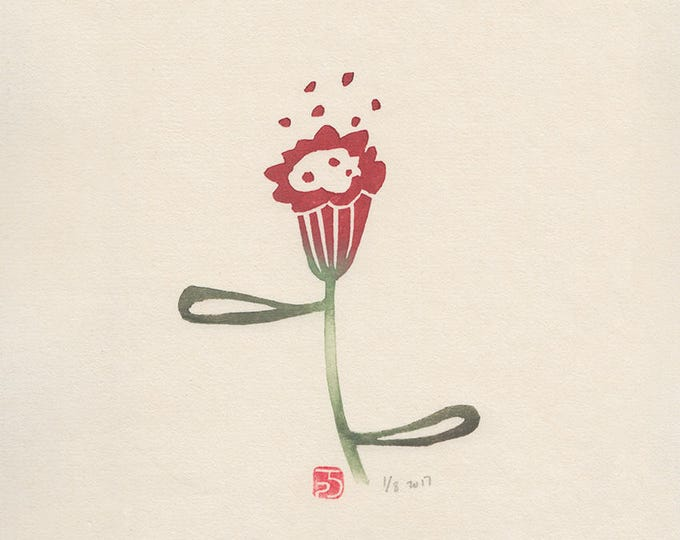 red trumpet flower print
