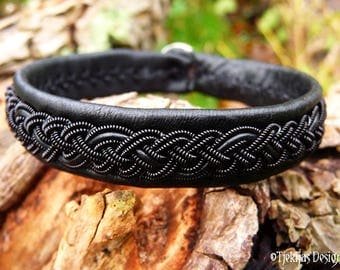 Gothic Black Viking Bracelet JORMUNGANDR Black in Black Unisex Sami Leather Cuff Custom Handmade for real Vikings and Shieldmaidens :)