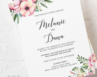 Wedding Invitations, Semi Custom - Country Bloom (Style 13778)