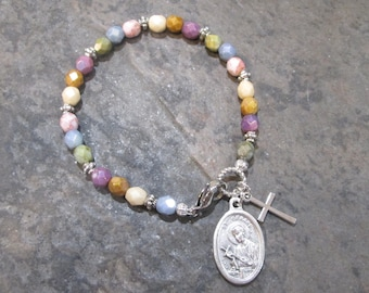 Saint Gerard Medal Beaded Bracelet with Czech glass beads and Cross charms Saint of Fertility and Motherhood Gift for Expectant Mothers