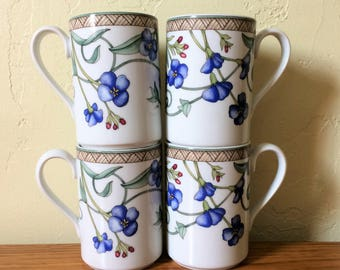 Vintage Dansk Umbrian Flowers Coffee Mugs Set of 4, Dansk Coffee Cups, Blue Flowers, Blue Floral Coffee Mugs, Hot Chocolate Mugs, Portugal,