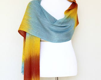 Woven scarf, pashmina scarf, gift for her, women scarf gradient color blue orange yellow long scarf with fringe