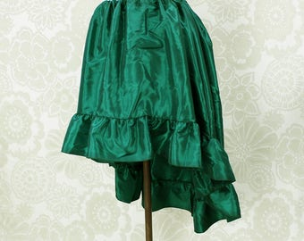 """Steampunk High Low Cecilia Skirt, Longer Length -- Forest Green Taffeta -- Ready to Ship -- Best Fits Up To 48"""" Waist"""