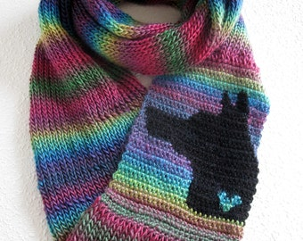 German shepherd dog infinity scarf.  Colorful striped cowl scarf with black shepherd dog silhouette and small heart. GSD Knit dog scarf