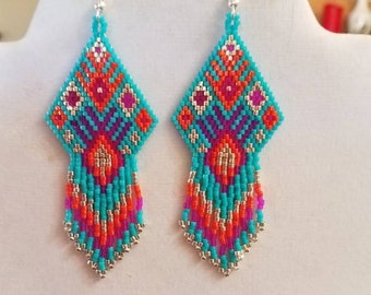 Native American Style Beaded Turquoise, Pink, Orange and Silver Earrings Southwestern Hippie Boho, Gypsy, Brick Stitch Peyote, Ready to Ship