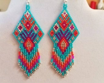 Native American Style Beaded Turquoise, Pink, Orange and Silver Earrings Southwestern Hippie Boho, Gypsy, Brick Stitch Peyote, Great Gift