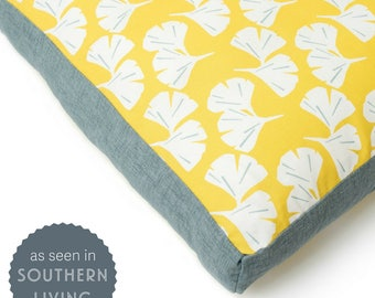 Ginkgo Dog Bed - As Seen in Southern Living Magazine. Yellow waterproof dog bed. Large dog bed. Ginkgo leaf washable pet bed. CharlieCushion