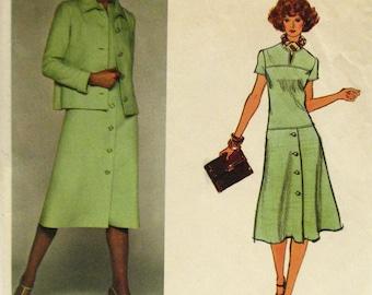 Vogue 1372 Molyneux free shipping US dress jacket vintage 70s Paris Designer Original size 10 sewing pattern