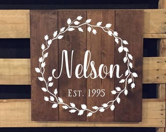 Hand Painted Sign | Name Sign | Wood Sign | Established Date | Vine Wreath | Wedding Gift | Custom Sign | Housewarming Gift | 22601