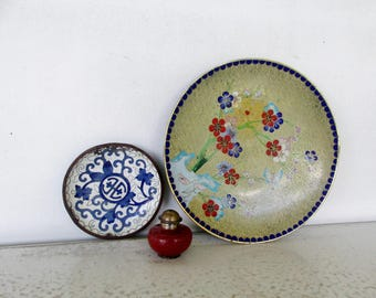 3 Cloisonne Dish Salt Shaker Asian China Vintage