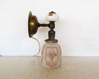 Antique Victorian Wall Sconce Light Fixture Frosted Glass Shade Milk Glass Decorative Lamp