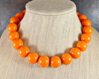 Statement Necklace, Orange, Orange Bead Necklace, Big Necklace, Orange Necklace, Gumball, Chunky Necklace, Big Bead Necklace, Beaded