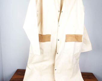 Vintage Western Cowboy Overcoat Ghost Riders Tan Canvas Coat Duster Jacket, Made in the USA, Size Medium