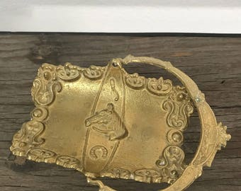 Vintage brass horse basket tray with handle card holder, catch all tray