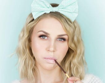 Pastel mint with white polka bow headband