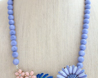 Periwinkle Necklace, Blue Necklace, Daisy Necklace, Collage Necklace, Statement Necklace,Upcycled Necklace,Upcycled Jewelry,Recycled Jewelry