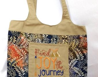 Tote Bag with Pockets Batik Find Joy in the Journey Machine Embroidered Blue Orange Handbag Purse Boho Bag Handmade Customizable bananabunch